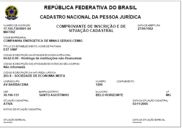 Documento oficial extraído do site da Receita Federal comprova: a CEMIG é uma sociedade de economia mista. Logo, tem participação do Governo de Minas.